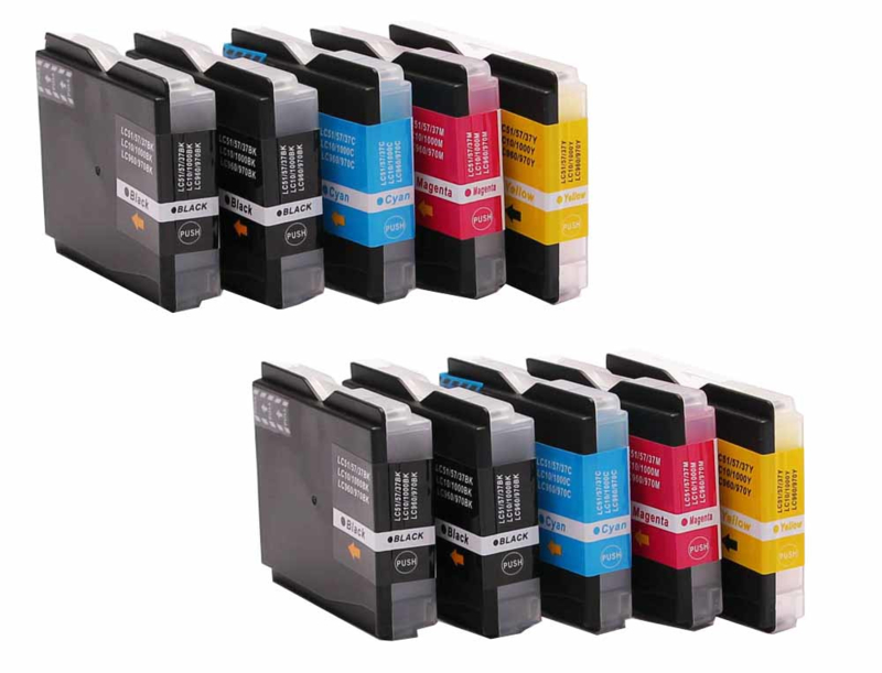 Huismerk Brother LC-1000/970 cartridge set 10-pack met chip