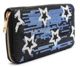 Portemonnee met pailletten en sterren blauw/zwart