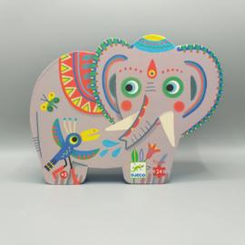 Djeco Silhouettepuzzel  - Hathee, Aziatische olifant 54