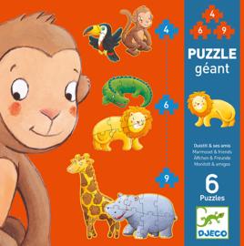 Djeco - Giant puzzle, Marmoset & friends  4/6/9