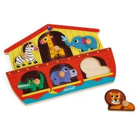 Janod - Ark van Noach houten knoppuzzel