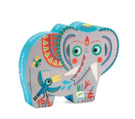 Djeco Silhouettepuzzel  - Hathee, Aziatische olifant 24