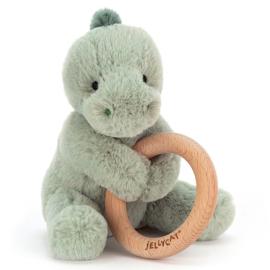 Jellycat  - Dino met houten ring- Shooshu