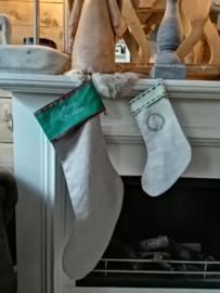 Kerstsok groot taupe/groen
