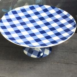 Taartplateau Anne, blauw wit geruit