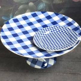 Bordje 17,5 cm blauw wit geruit