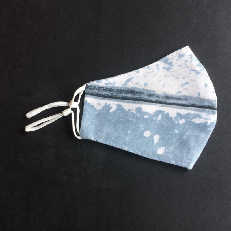 Mondkapje vintage blauw, wit elastiek