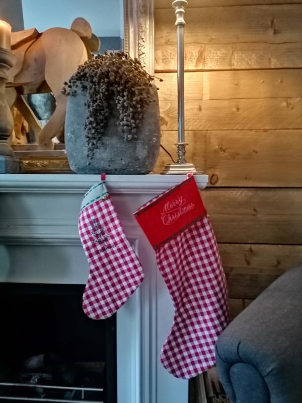 Kerstsok klein rood/witte ruit