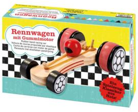 Houten raceauto met elastiek motor