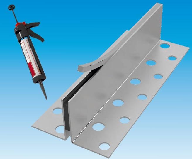 Krimpvoegprofiel 2430-RVS, met navulbare inlage, profielhoogte 30 mm, zichtbreedte 8 of 13 mm