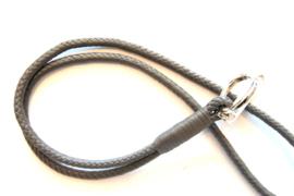 Keycord gevlochten leer grijs