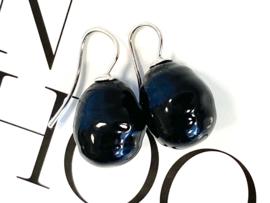 Barok parel oorbellen zwart/zilver
