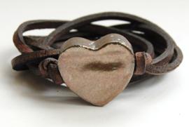 Armband leren veter met goud hart