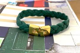 Armband gevlochten leer groen