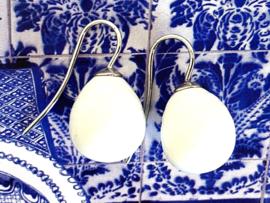 Vermeer parel oorbellen melkwit/zilver