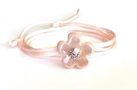 Bruidsmeisjes bloemen armband roze