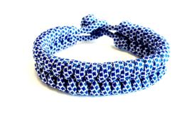 Armband gevlochten paracord blauw/wit
