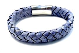 Herenarmband gevlochten leer vintage blauw