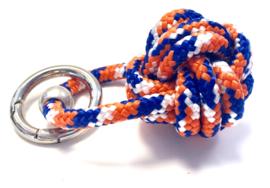 Sleutelhanger scheepsknoop paracord oranje/blauw/wit