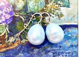 Vermeer parel oorbellen pastel blauw/zilver