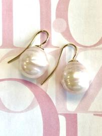 Barok parel oorbellen roze/goud