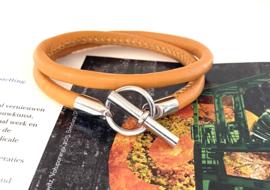 Armband leer hermes style oranje