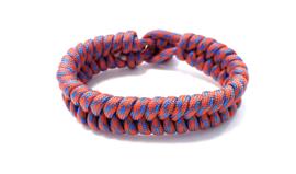 Armband gevlochten paracord rood/blauw