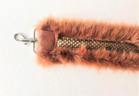 Schouderband  bont warm bruin/croco print