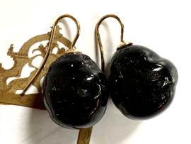 Barok parel oorbellen groot zwart/goud
