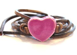 Armband leren veter met purple hart