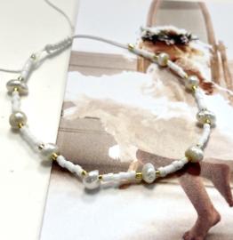 Armband pareltjes wit