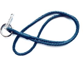Keycord gevlochten leer blauw
