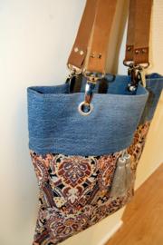 Tas jeans/brokaat en leer