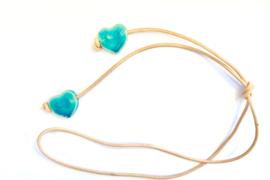Ketting naturel leer harten turquoise