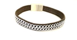 Armband leer/ketting grijs