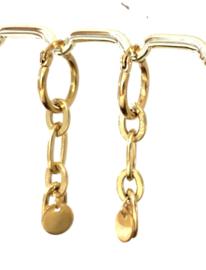 Oorbellen schakel stainless steel goud