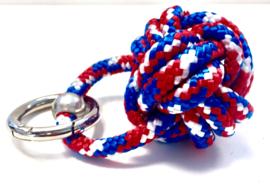 Sleutelhanger scheepsknoop paracord rood/wit/blauw
