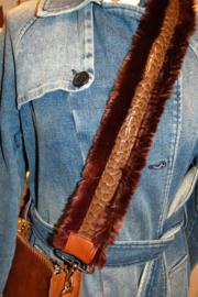 Schouderband bont donker bruin/crocoband