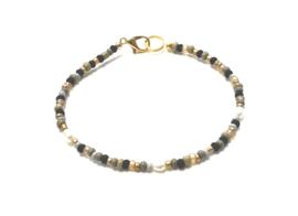 Armband zwart/grijs met pareltjes