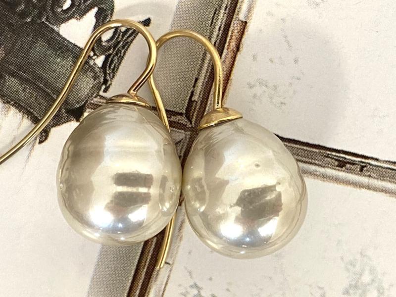 Vermeer parel oorbellen champagne/goud
