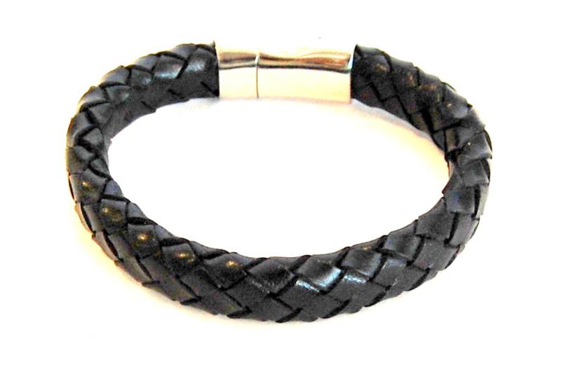 Armband gevlochten leer zwart
