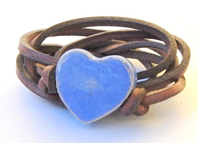 Armband leren veter met lavendel hart