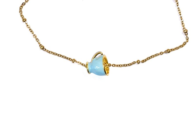 Ketting stainless steel goud met licht blauw theekopje