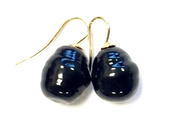 Barok parel oorbellen zwart/goud