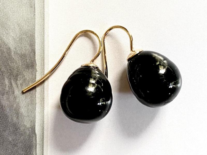 Vermeer parel oorbellen zwart/goud