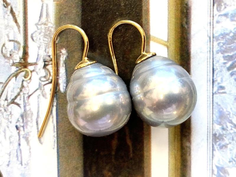 Vermeer parel oorbellen grijs/goud