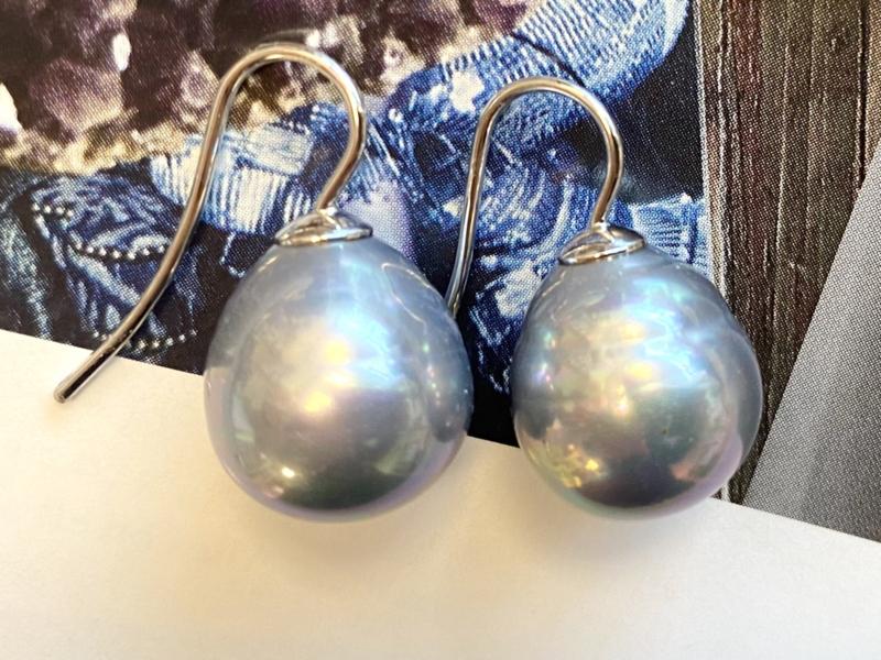 Vermeer parel oorbellen jeansblauw/zilver