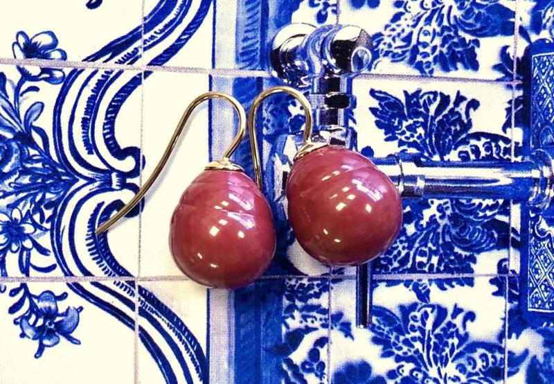 Vermeer parel oorbellen rood/goud