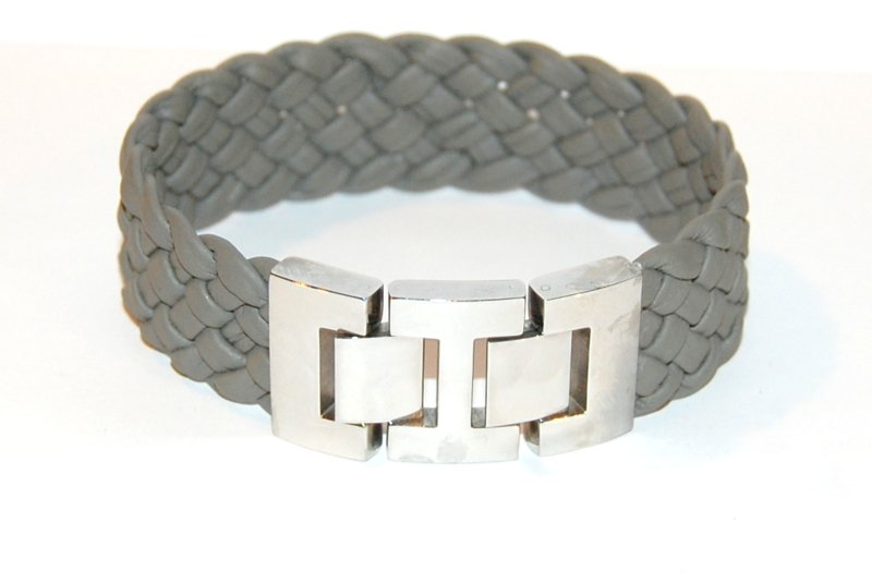 Herenarmband gevlochten nappa leer  breed airforce
