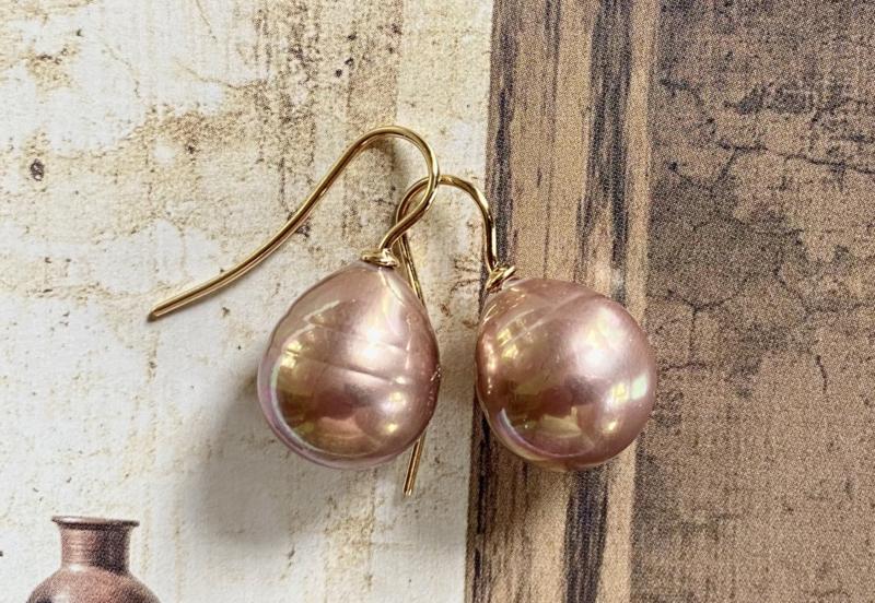 Vermeer parel oorbellen rose  goud/goud